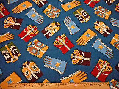 Western Fabric BTY Cowboy Shirts Riding Gloves on Blue Quality Quilting Cotton