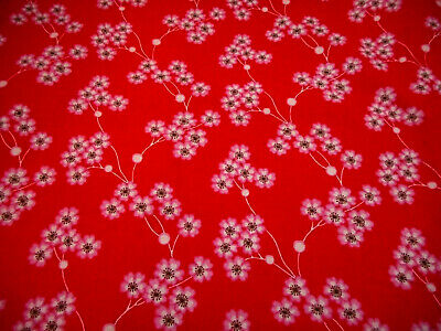 Floral Fabric By The Yard White Pink Brown Flowers Bright Red Quilting Cotton #C
