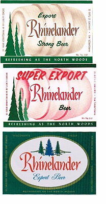 Set of 3 1960s Rhinelander Beer labels Tavern Trove Wisconsin Unused