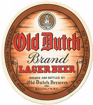 Old Dutch Lager Beer 32oz IRTP Old Dutch Brewers Inc Brooklyn NY Tavern TRove