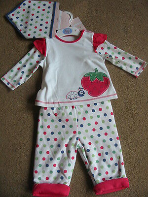 BNWT M&S Strawberry Spotty Top Trouser & Bib Set 3-6 6-9 9-12 Months