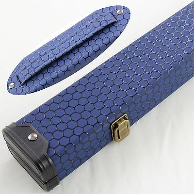BLUE HONEYCOMB 2 Piece Hard Snooker Pool Cue Case