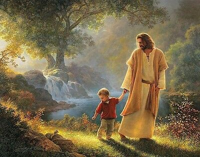 Jesus Walking With Child 8X10 Glossy Photo Picture