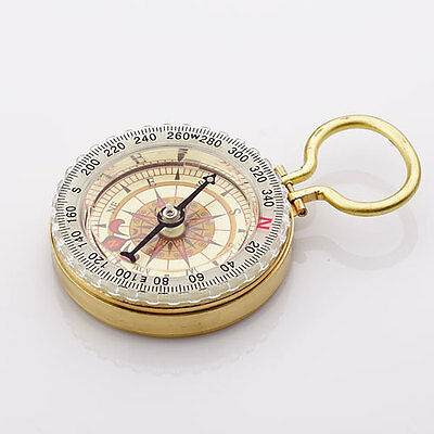 Brass Pocket Compass w Rotational Dial