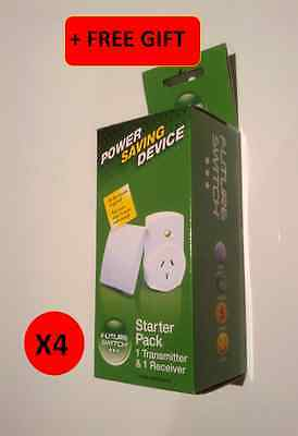 4 x Wireless Remote Controlled Main Power Switch Future Switch, Energy Saving