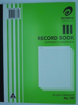 Olympic #707 Record Book 250x200mm Triplicate 50Lf 140860