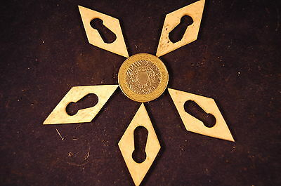 5 Antique Victorian DIAMOND Shaped Hand Cut Bone Escutcheons Keyholes  (16)