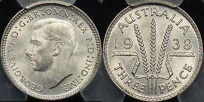 Australia 1938 Threepence 3d  PCGS MS65 Gem Uncirculated