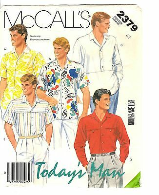 """McCall's Today's Man Sewing Pattern Men's SHIRTS 2379 Chest 42"""" UNCUT"""