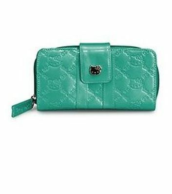 NWT Loungefly Hello Kitty Teal Embossed Faux Patent Leather Wallet