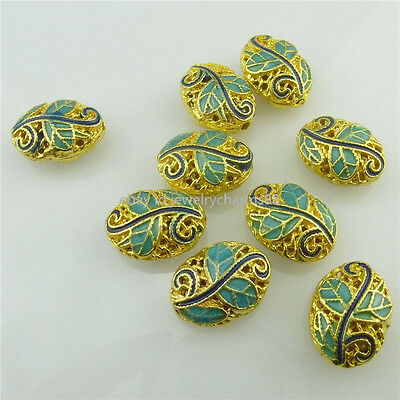 18535 2pcs Gold Oval Cloisonne Enamel Leaf 14mm Loose Spacer Beads Copper
