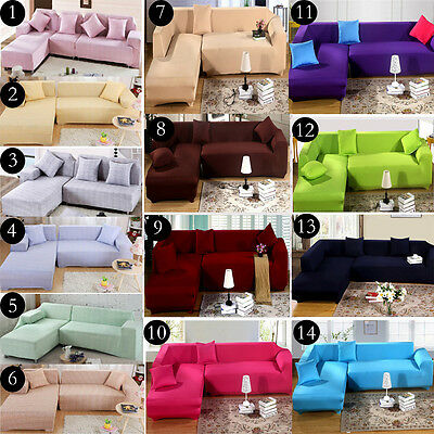 2 3 4 Seater L-shaped Stretch Fit Sofa Cover Lounge Couch Slipcover,16 Colors