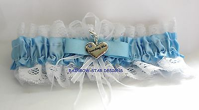 Blue/white Bridal Garter With Something Blue Charm & Sixpence