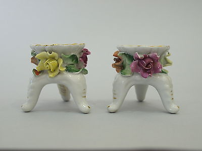 Antique, Vintage, RGV, Germany, Pair of Small Porcelain candlesticks, Hand made