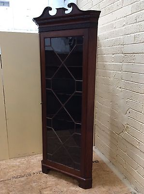 Georgian Mahogany Glazed Tall Corner Cabinet