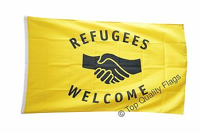 Refugees Welcome FLAG  Banner 90x150cm - 5ftx3ft