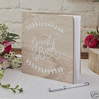 New wedding engagement party vintage wooden boho 32 page guest book keepsake