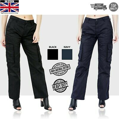 Womens Ladies Cargo Trousers Work Wear Six Pocket Pants Jeans