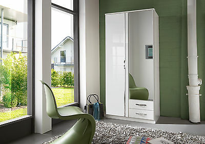 SlumberHaus German Trio White Gloss 90cm 2 Door Mirror Wardrobe with Drawers