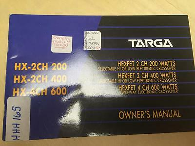 Targa Owner Manual for the HEXFET HX 2CH 200 400 4CH 600 Crossover    mp
