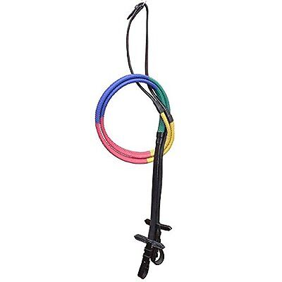 Multi Coloured Training Reins, Rubber Covered Black Leather, Green Blue Red Yell