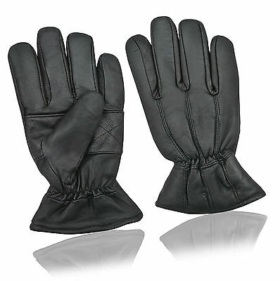 Mens Women Thermal Real Leather Gloves Driving Fleece Lined Soft Warm Winter