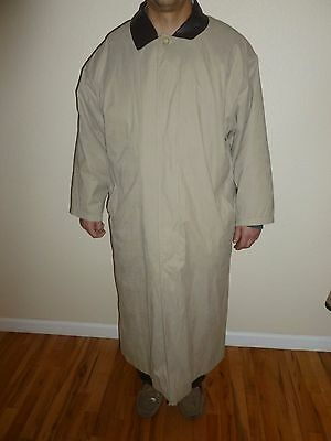 BROOKS BROTHERS FULL LENGTH TRENCH COAT Beige  REMOVABLE WOOL LINING Sz 42R