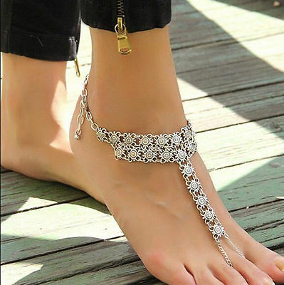 Sexy Silver Anklet Chain Ankle Bracelet Foot Jewellery Barefoot Sandal (29)