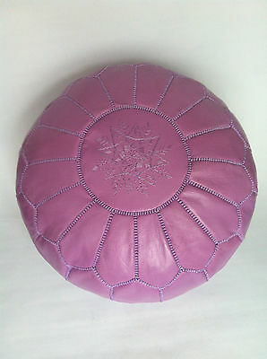 100% Leather Handcrafted Moroccan Pouffe Violet