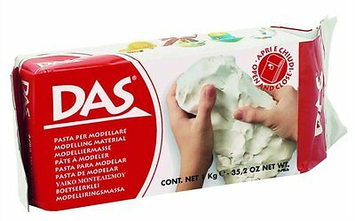 White Modelling Clay DAS 1000g 1KG Air Dry Suitable for Art Craft Pottery NEW