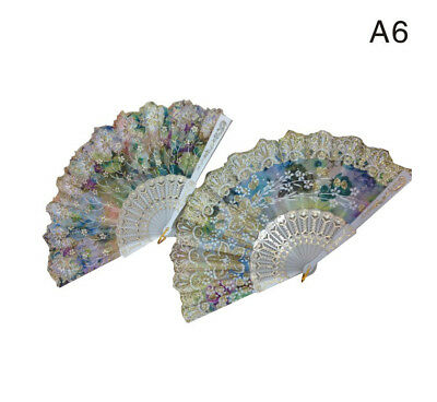 WHOLESALE LOTS of 12PCS  HAND MADE fans WITH SPARKLING FLOWER