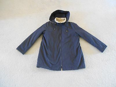 Men's London Fog Jacket Hooded Navy Blue W/Tan Trim Sz Large Removable Lining