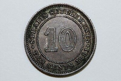 About Uncirculated 1881 Straits Settlements 10 Cents Silver Coin (STRAITS110)