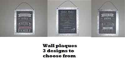 wall metal hanging sign plaque nice normal family, toilet rules, drink champagne