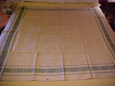 Vintage Linen Tablecloth w/ Green Border & White Flowers Made in Soviet Union