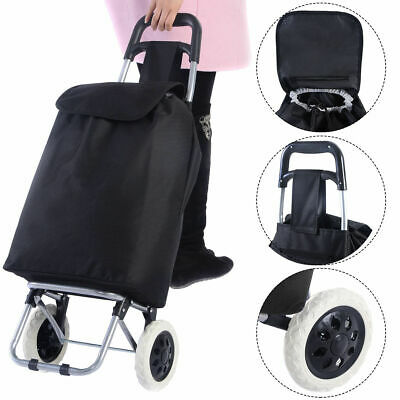 Black Large Capacity Light Weight Wheeled Shopping Trolley Push Cart Bag New