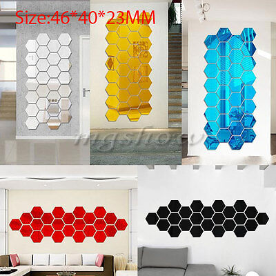 10Pcs Modern Acrylic Plastic Mirror Tile Stickers Wall Decal Home Decor Art DIY