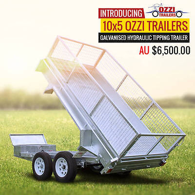 Galvanised Tipping Trailer Hydraulic 10x5 NEW Gold Coast