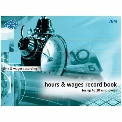 Zions Hours & Wages Record Book Up to 20 Employees 46P 215 x 285mm - 76M