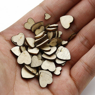 60pcs LOTS WOODEN MINI MIXED WOOD HEART DECOR IDEAL ART CRAFT CARD MAKING SCRAP