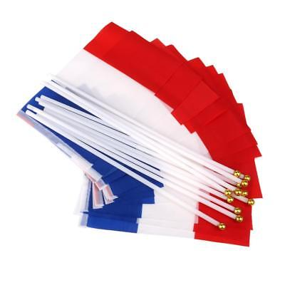 12Pcs France Flag French National Flags Hand Waving Flag with Poles