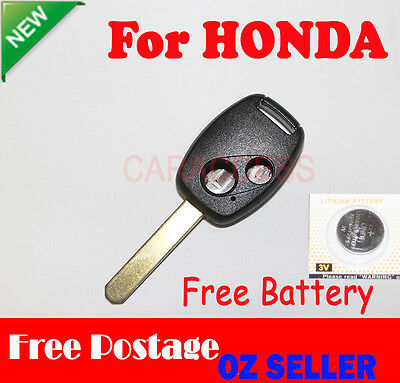 KEY CASE SHELL 2 Button Remote For HONDA ACCORD CIVIC JAZZ UNCUT BLADE