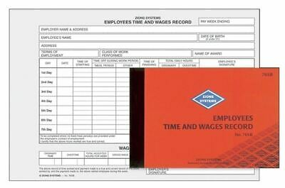 Zions Employees Time & Wage Record Book 55P 145 x 210mm 76SB