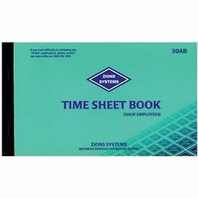 Zions Time Sheet Book 54L 125 x 205mm 30AB