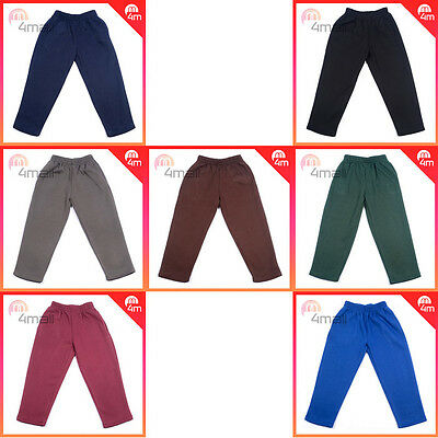Boys Girls Kids Fleecy Fleece Double Knee School Uniform Track Pants Trousers Sz