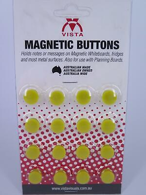 16 x YELLOW 15mm Vista Whiteboard Magnetic Button VWMAG15Y