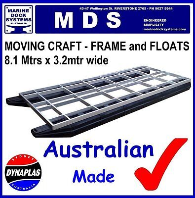 8.1m x 3.2m PONTOON BOAT BBQ WORK PLATFORM BARGE POLY FLOAT HULL ALUMINIUM FRAME