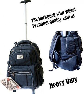 FIB 73L Premium quality canvas Wheeled Trolley Backpack BLACK
