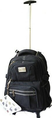 FIB Carry on Premium quality canvas Wheeled Trolley Backpack BLACK