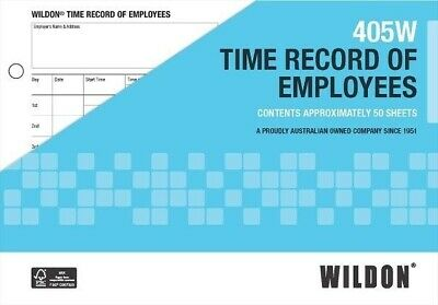 Wildon Time Record of Employees Loose Leaf 50/Pk 405W WIL405